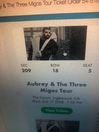 Drake Oct 17, close seats!  Los Angeles, 90015