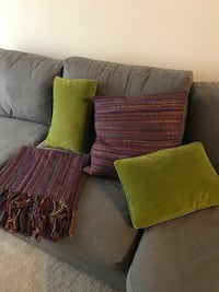Throw pillows and matching blanket