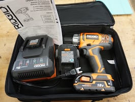 RIDGID R860052K 18V LITH-ION Cordless Compact Drill/Driver KiT WITH 2 R840085 BATTERIES; R86092 CHARGER ; CASE; MANUAL. New. OUT OF BOX.
