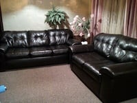 Black leather 3-seat sofa and loveseat Montréal, H3A 2W8