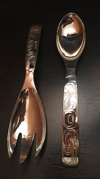 Silver serving spoon and fork, pate knives, decorative pewter spoon  New Westminster, V3L
