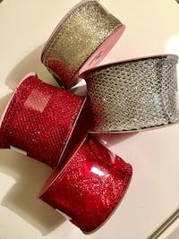 Christmas ribbons. Unused. two gray and two red ribbons Hollywood, 33021