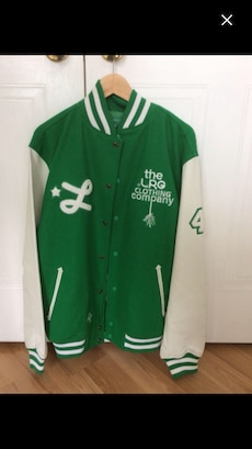 green and white The LRG letterman jacket
