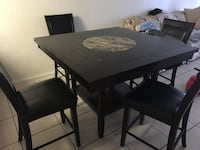 rectangular black wooden table with four chairs dining set Orlando, 32809