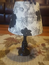 white and black floral lamp shade and black metal lamp base Mount Airy, 21771
