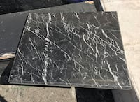 Square black and white marble panel