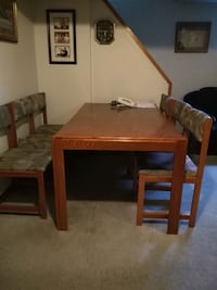 brown wooden table with  6 chairs Toronto, M1H 1K3
