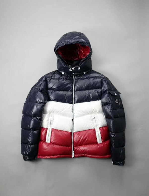f77473c6dfb3 Used Kith x Moncler Rochebrune Classic Down Jacket Navy White Red ...