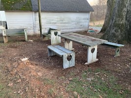 Free picnic table and benches