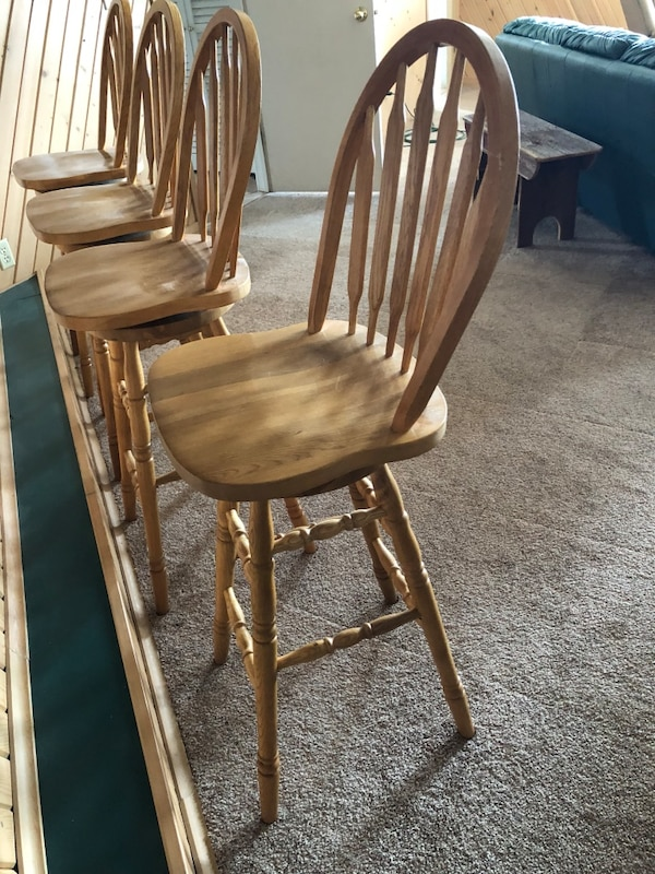 Used Solid Oak Bar Stools Swivel200 Takes All For Sale In