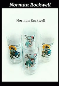 4 clear Norman Rockwell drinking glasses Toronto, M6M 1T1