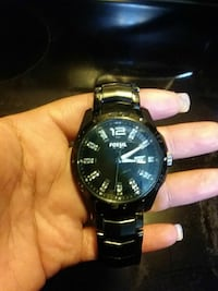 round black Fossil Analog watch with black link strap New Britain, 06051