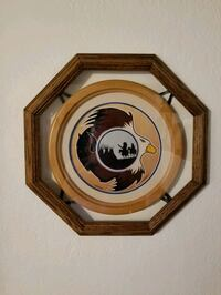 16 in diameter wall decor wood framed