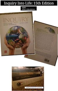 Inquiry Into Life (college textbook) Worcester, 01604