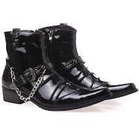 KUQIZA ZUMBALO BUCKLED LEATHER ANKLE BOOTS IN BLACK WITH CHAIN Istanbul