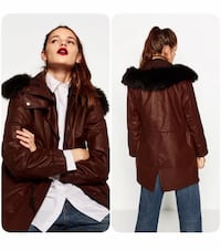 Zara Burgundy faux fur oversized parka Quincy