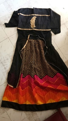 black, red and brown dress