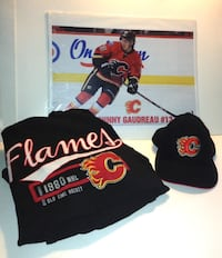 Calgary Flames Old Time Hockey Pullover Hoodie Cap and Poster  London