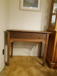brown wooden single-drawer table null