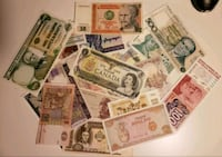 Collection of 25 World Notes - 6 continents  Calgary, T2R 0S8