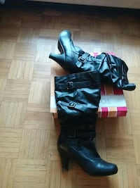 pair of black leather calf-high boots with box Toronto, M3N 2H5