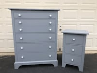 Solid Wood 5 Drawer Tallboy Dresser With Large 3 Drawer Nightstand Gray With White Handles Manassas