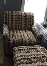 White and brown printed sofa armchair with ottoman Hamilton