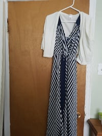 women's white and black striped sleeveless dress and white cardigan St. John's