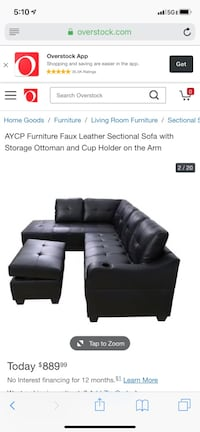 black leather tufted sectional sofa Alexandria, 22314