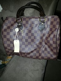 brown damier ebene Louis Vuitton leather tote bag