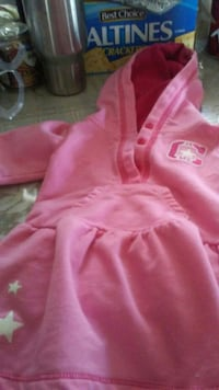 toddler's pink hooded dress