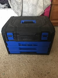 blue and black Kobalt tool box