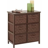 Honey Can Do Double Woven Strap Six Drawer Chest with Handles Chestnut Hill Cove