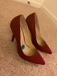 pair of red suede platform stilettos Chantilly, 20152