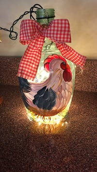 """Hand painted lighted bottle, """"Hen"""", gingham tie, plug in. 37 mi"""