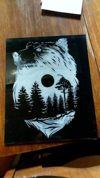 Bear and forest glass engraving  Hot Springs, 28743