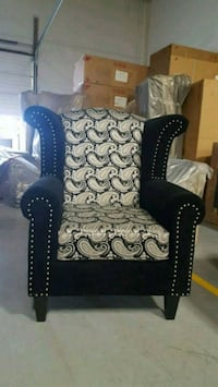 black and white floral fabric sofa chair Calgary, T3J 0C3