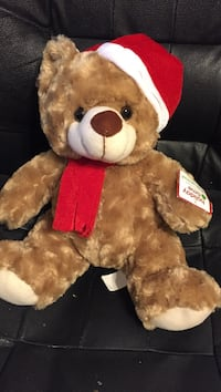 """brown bear plush toy with red scarf and Santa hat, 15"""", new Suffolk, 23437"""
