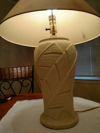 beige and white table lamp