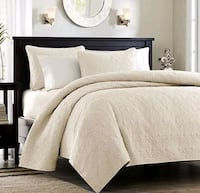 brown wooden bed frame with white bed sheet set Richmond Hill, L4C 3T9