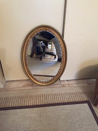 oval brown wooden framed wall mirror Perth, K7H 3L4
