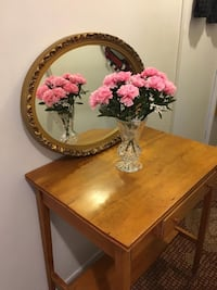 Mirror with table mirror has wood frame and also solid wood table both in good condition but use both for $40 pick up Kingston and Lawrence  Toronto, M1T 1W3