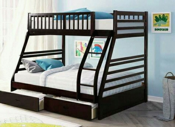 Used Espresso Twin Over Full Bunk Bed With Storage Draw For Sale In