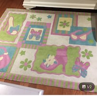White, green, and pink Girly  area rug