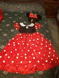 black,red, and white polka-dot Minnie Mouse costume dress