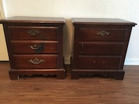 Two brown wooden 2-drawer nightstands Tampa, 33626
