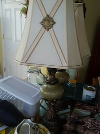 brown and yellow table lamp with lampshade