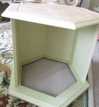 Refinished Hexagon End Table & Trendy Pet Bed