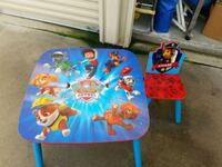 paw patrol wood table with 1 chair Manteca, 95336
