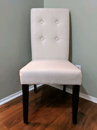 Beige Linen Dining Chair with Espresso Wood